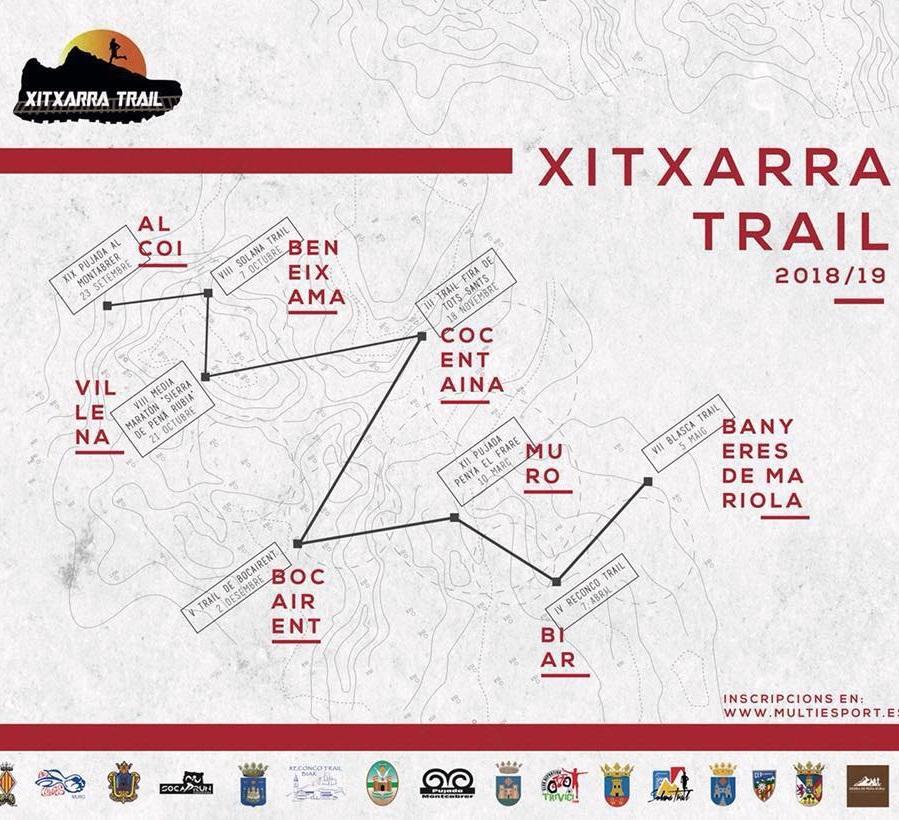Cuarta prueba del Circuit Xitxarra Trails 2019. Se celebrará el 10 de Noviembre a las 09:00h en Cocentaina